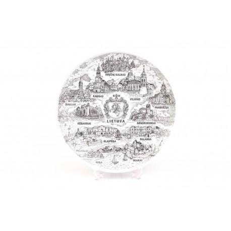 """Keramikinė suvenyrinė lėkštė """"Miestai"""""""