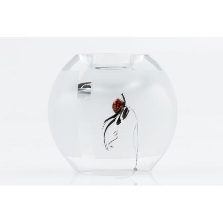Gintaru ir sidabru dekoruota stiklinė vaza-žvakidė