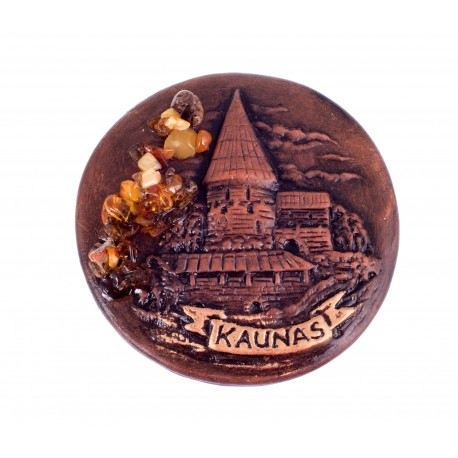 Keramikinis magnetas dekoruotas gintaru