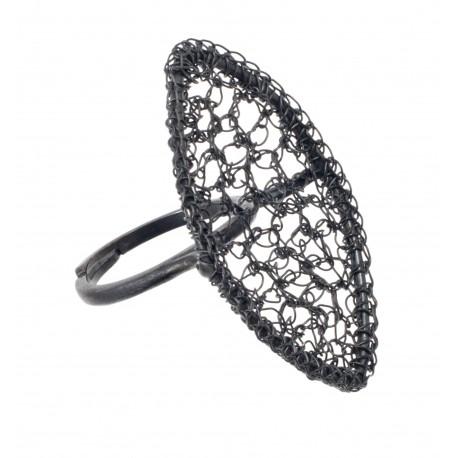 Autorinis juodinto sidabro žiedas