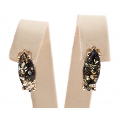 Auksiniai auskarai su žalios spalvos gintaru
