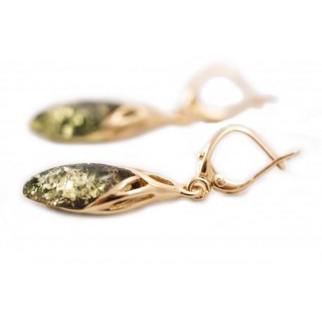 Auksiniai auskarai su žaliu gintaru