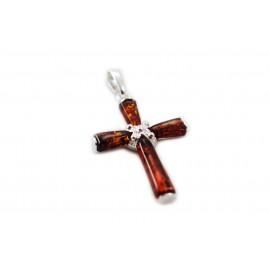 Sidabrinis kryžius su konjakiniu gintaru