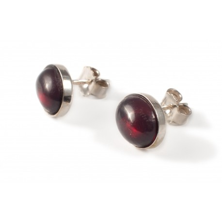 Silver earings with cherry amber