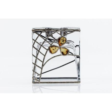 Stiklinė alavu gintaru dekoruota vaza - žvakidė
