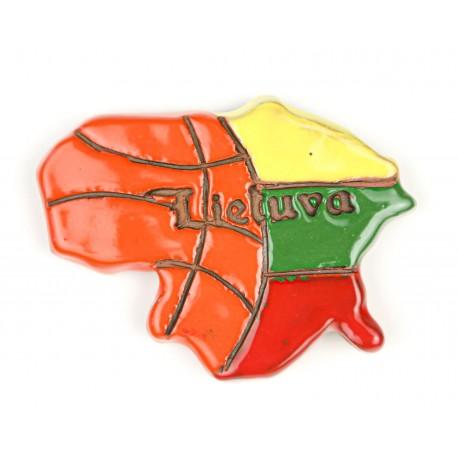 """Keramikinis magnetas """"Lietuva - krepšinio šalis"""""""