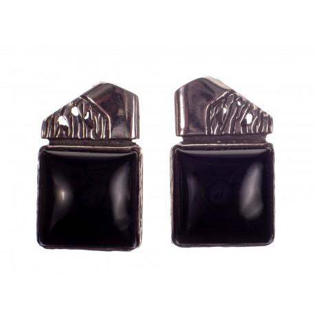 Keturkampiai sidabro auskarai su oniksu
