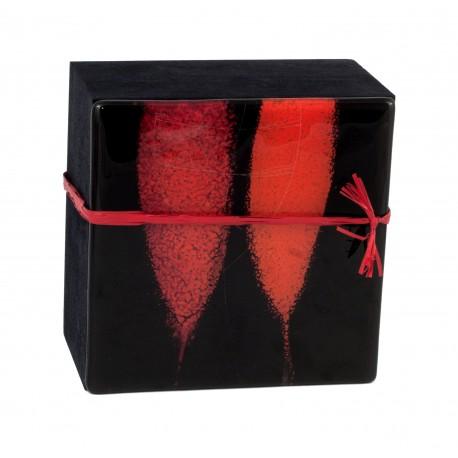 Medinė dėžutė su vitražinio stiklo dangteliu