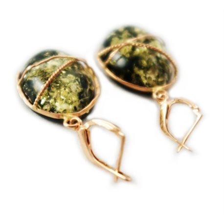 Žalio gintaro aukso auskarai