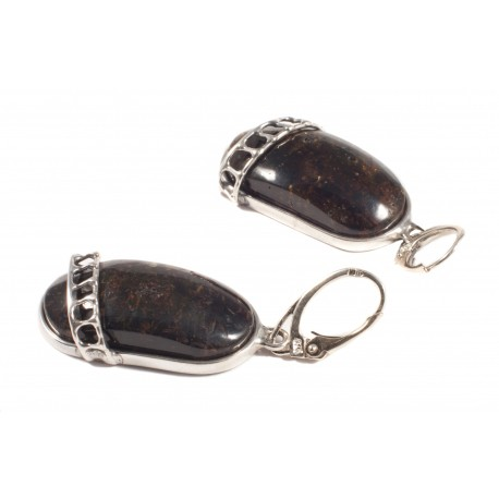 sidabriniai auskarai su gintaru