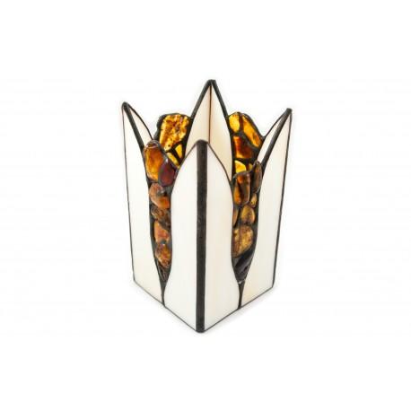 Vitražinio stiklo žvakidė, dekoruota natūraliu gintaru