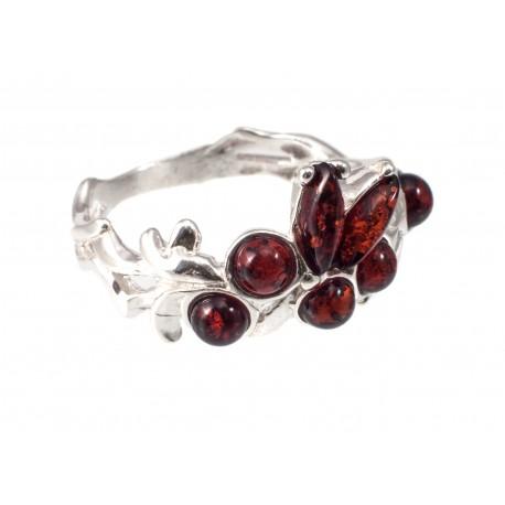Gintaro - sidabro žiedas