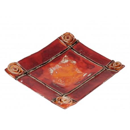 Keturkampio formos keramikos lėkštė