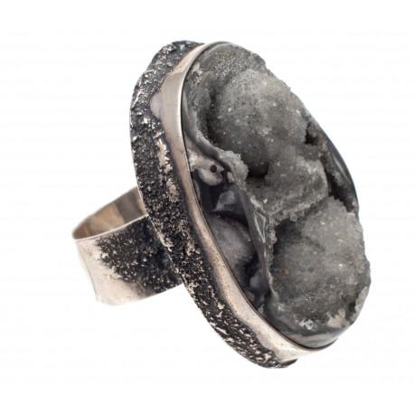 Vienetinis sidabro žiedas su ametisto agatu