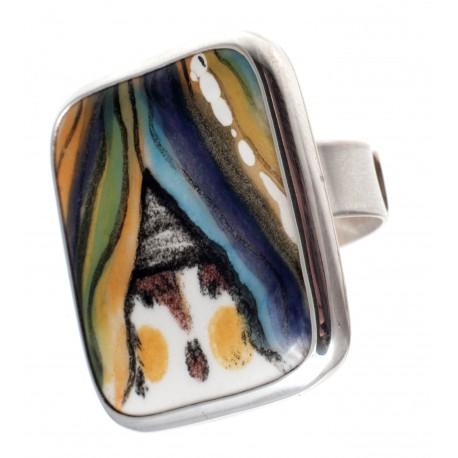 Autorinis sidabro žiedas su porcelianu