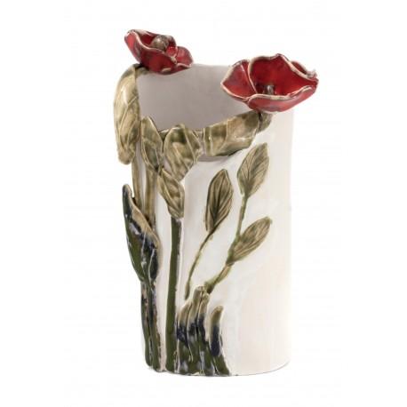 Keramikine vaza su gėliu motyvu