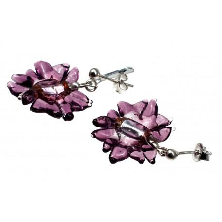 """Stikliniai auskarai """"Gėlių žiedai"""""""